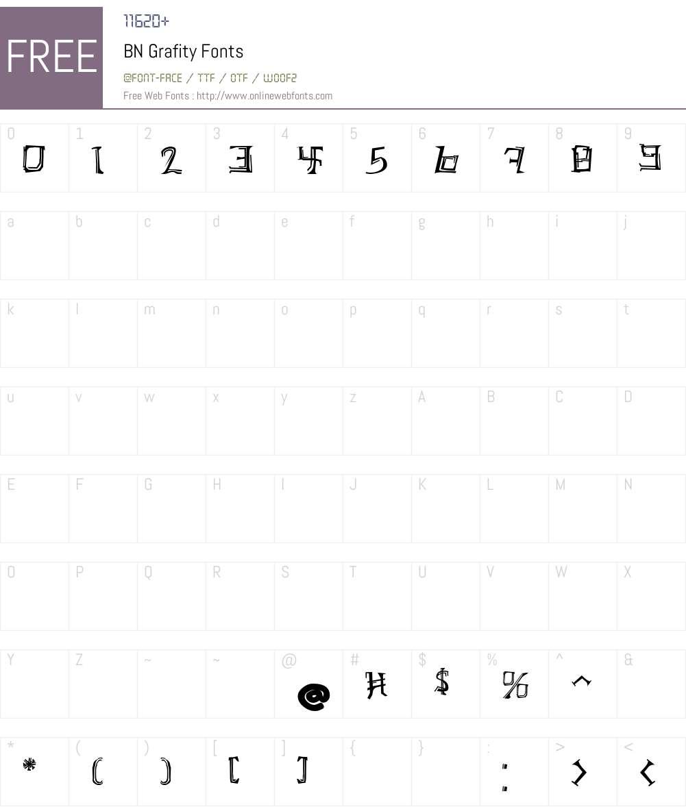 BN Grafity Font Screenshots