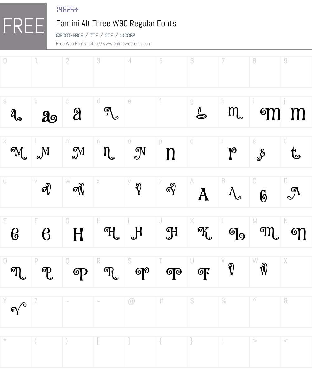 FantiniAltThreeW90-Regular Font Screenshots