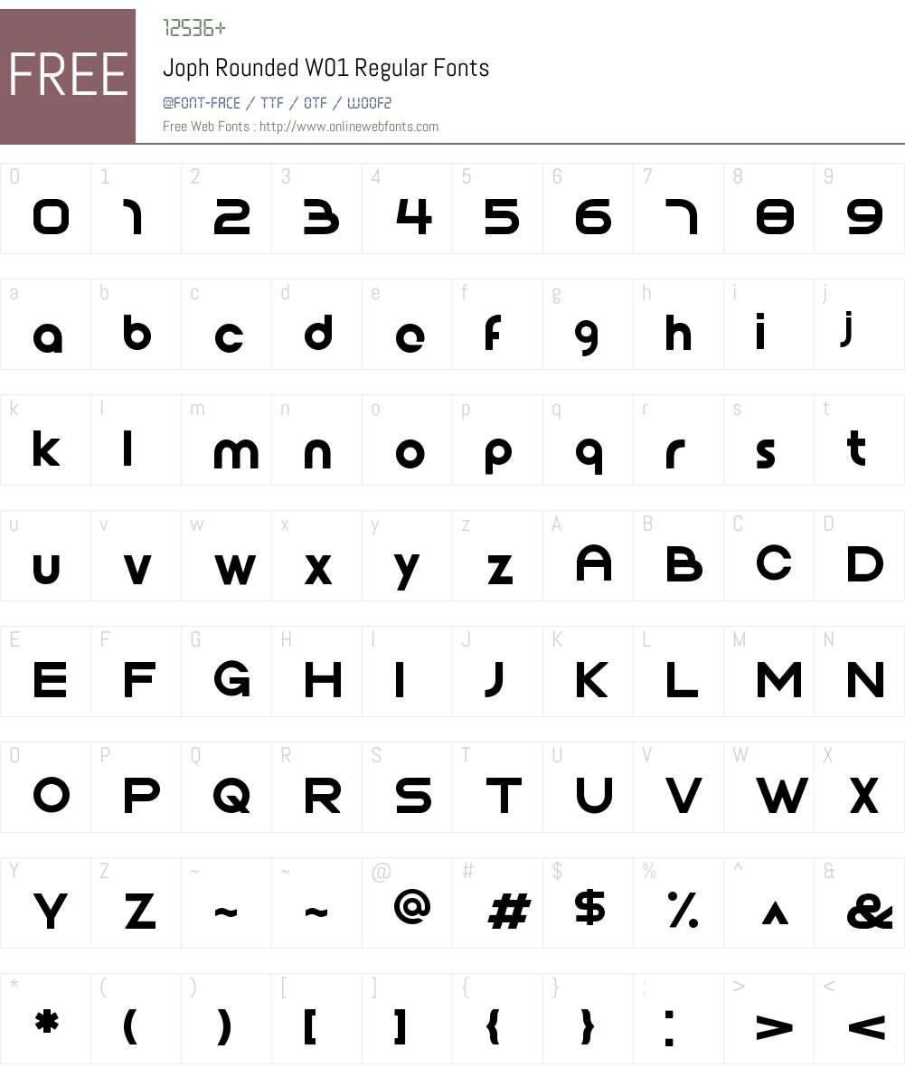 JophRoundedW01-Regular Font Screenshots