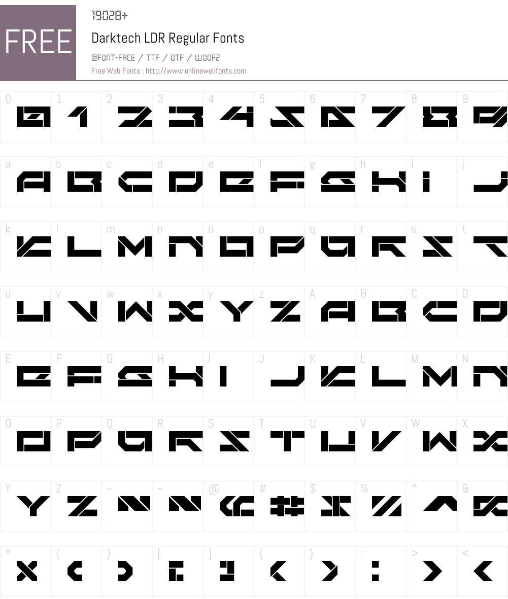 Darktech LDR Font Screenshots