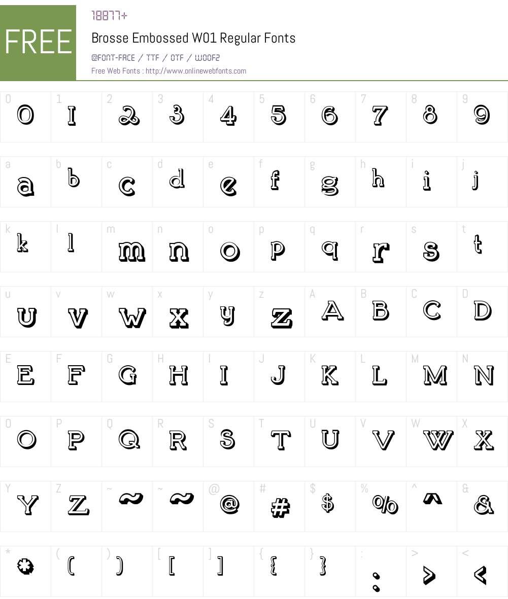 BrosseEmbossedW01-Regular Font Screenshots
