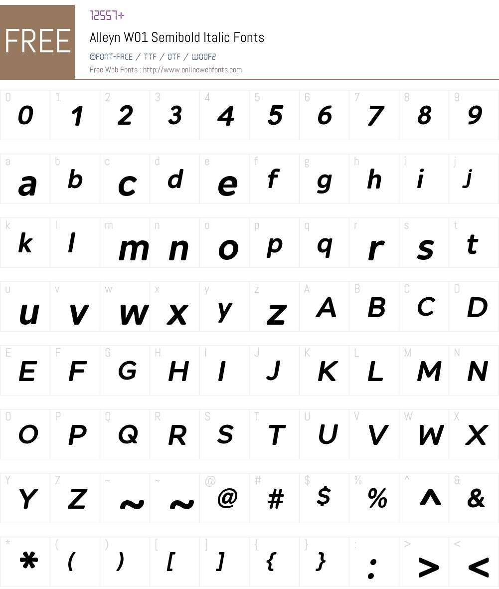 AlleynW01-SemiboldItalic Font Screenshots
