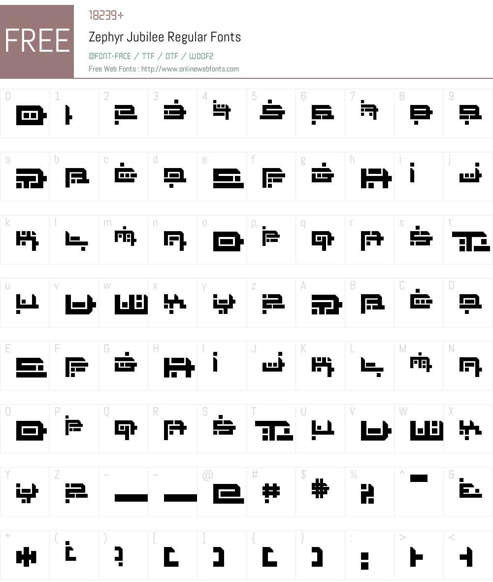 Zephyr Jubilee Font Screenshots