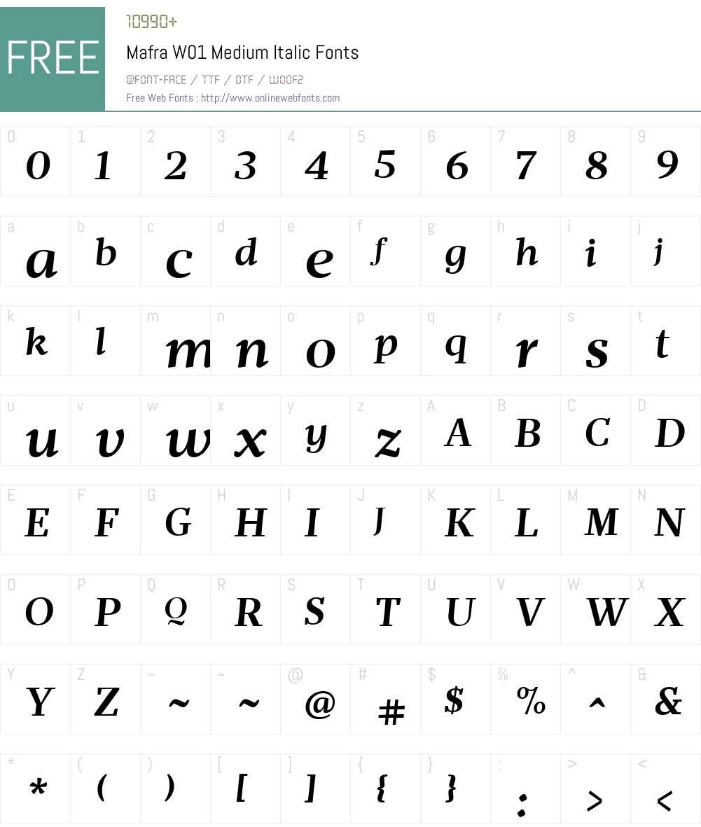 MafraW01-MediumItalic Font Screenshots