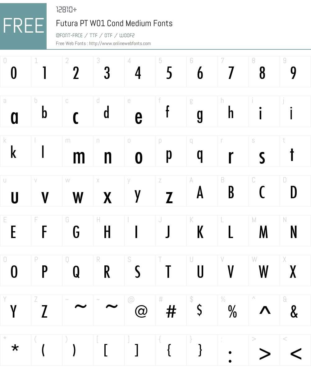FuturaPTW01-CondMedium Font Screenshots