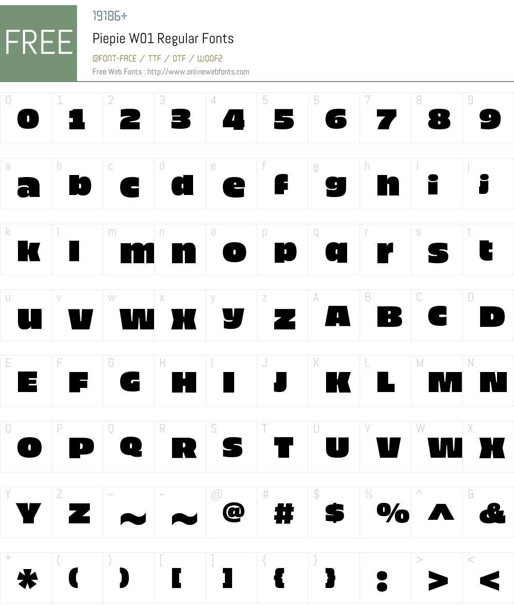 PiepieW01-Regular Font Screenshots