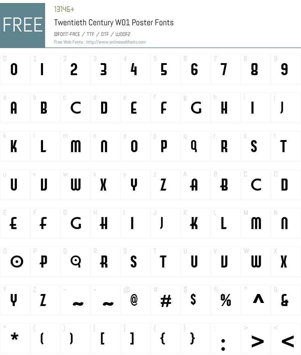 TwentiethCenturyW01-Poster Font Screenshots