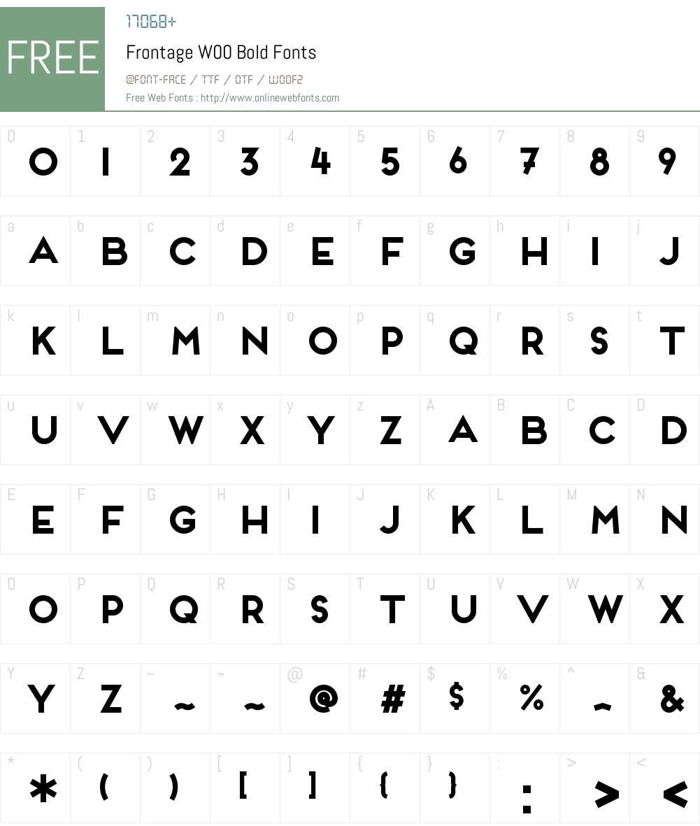 FrontageW00-Bold Font Screenshots