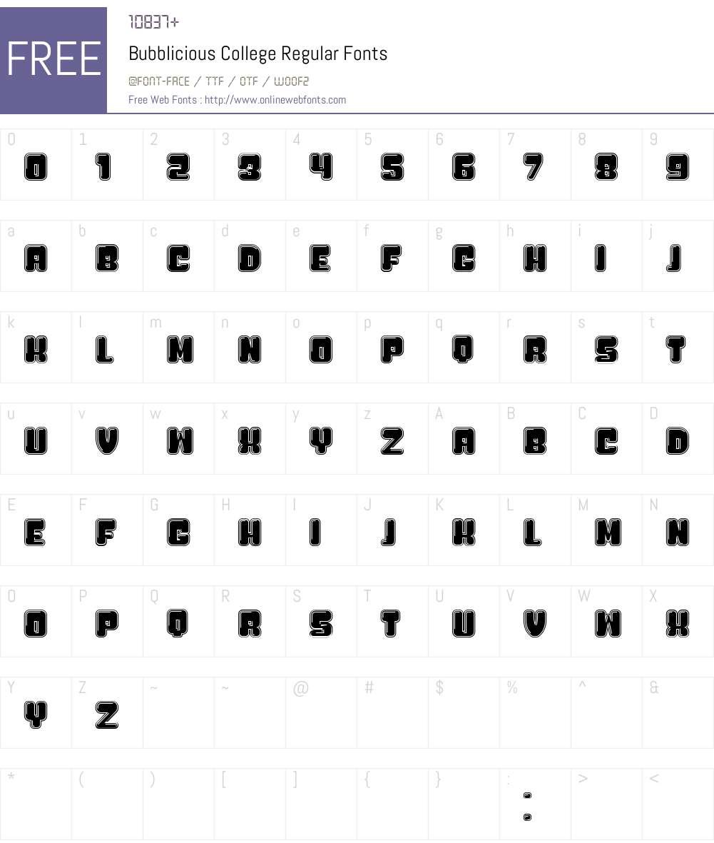 Bubblicious College Font Screenshots