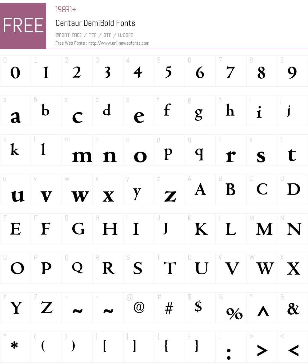 Centaur Font Screenshots