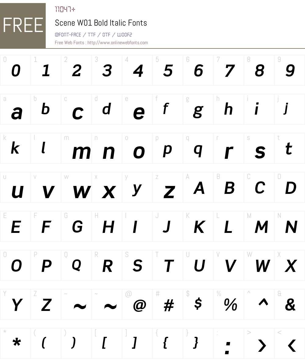 SceneW01-BoldItalic Font Screenshots