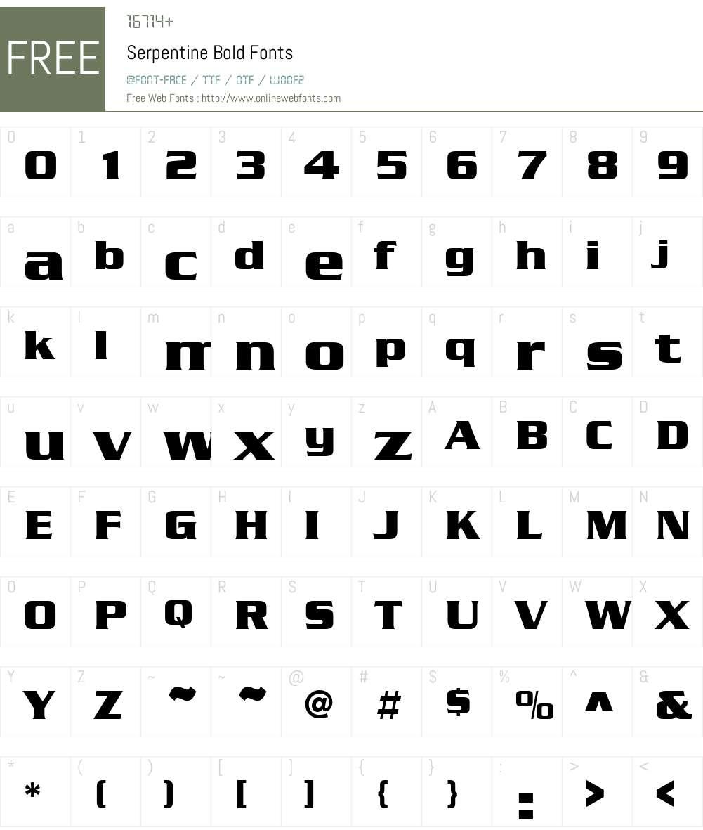 Serpentine Font Screenshots