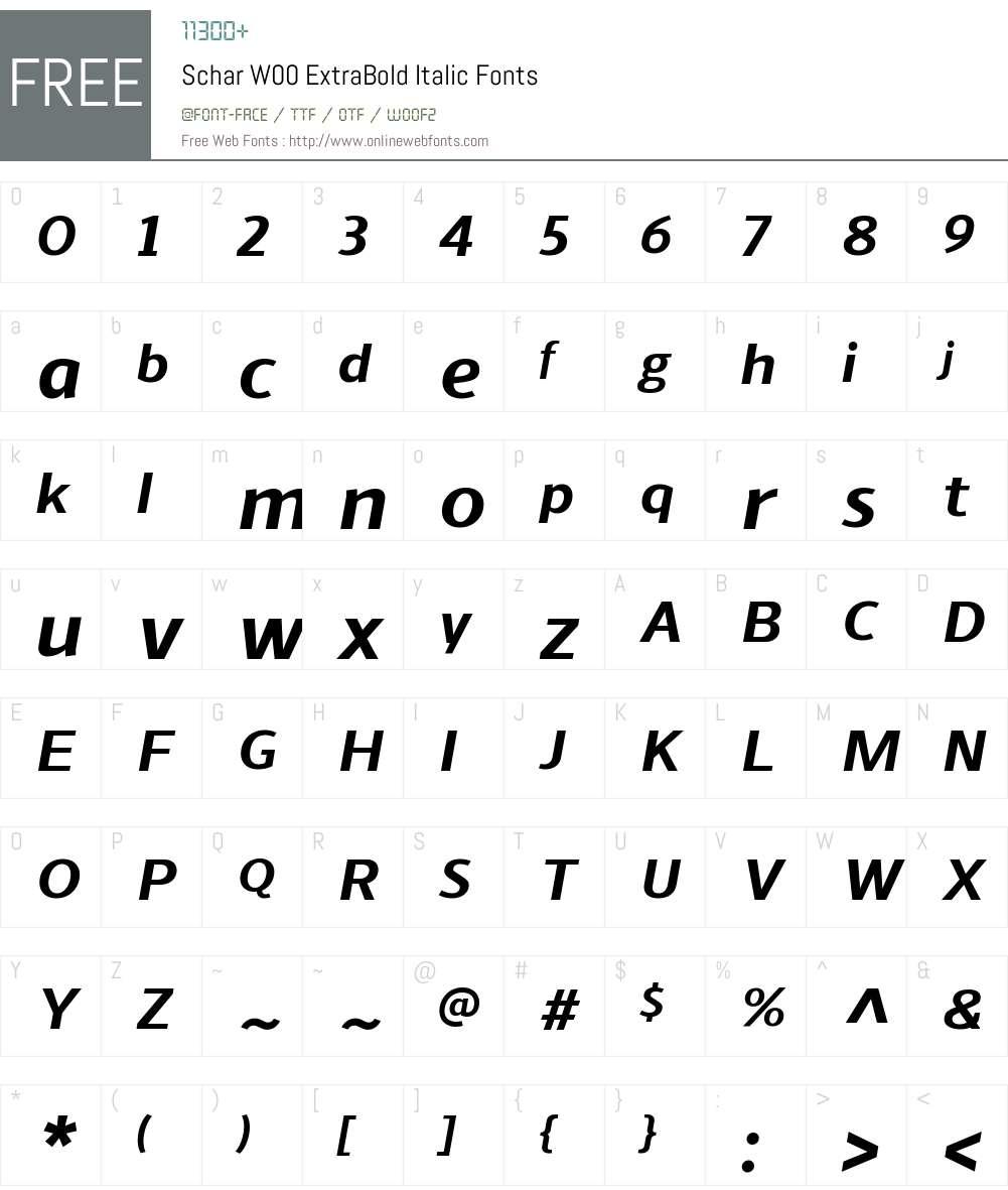 ScharW00-ExtraBoldItalic Font Screenshots