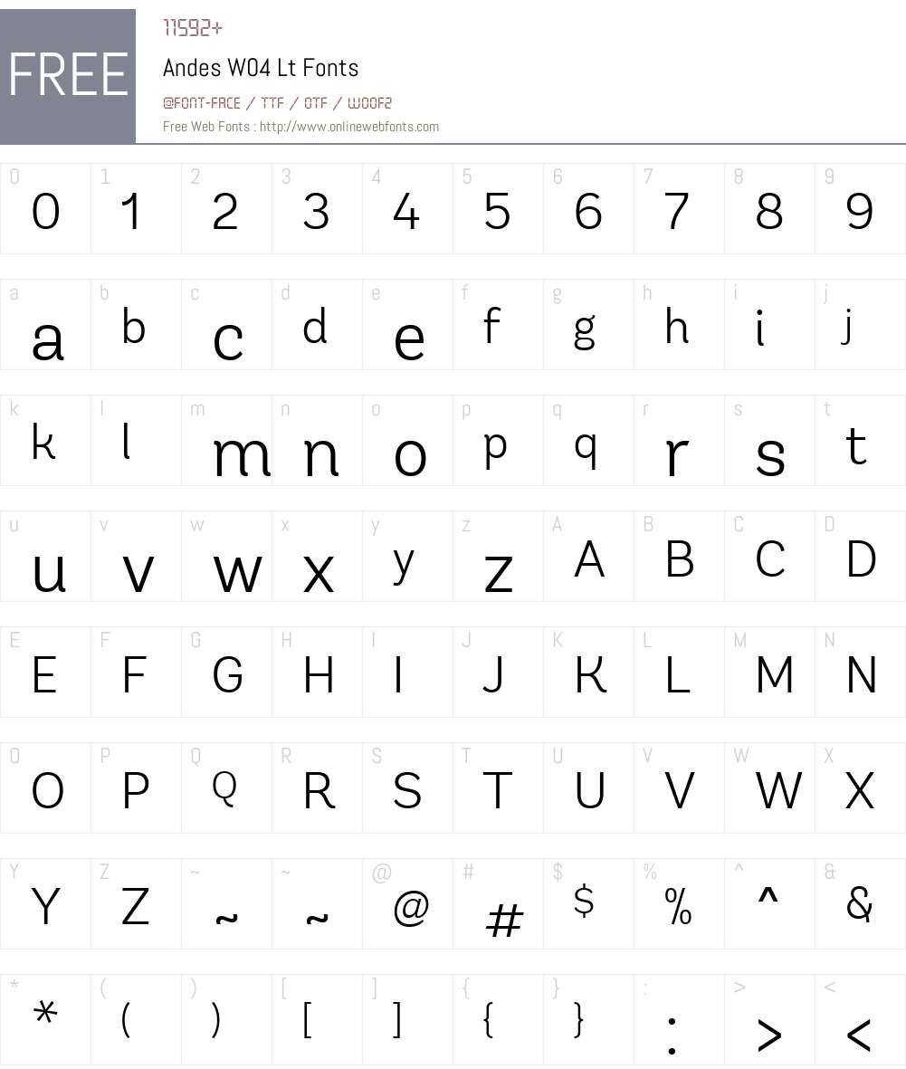 AndesW04-Lt Font Screenshots