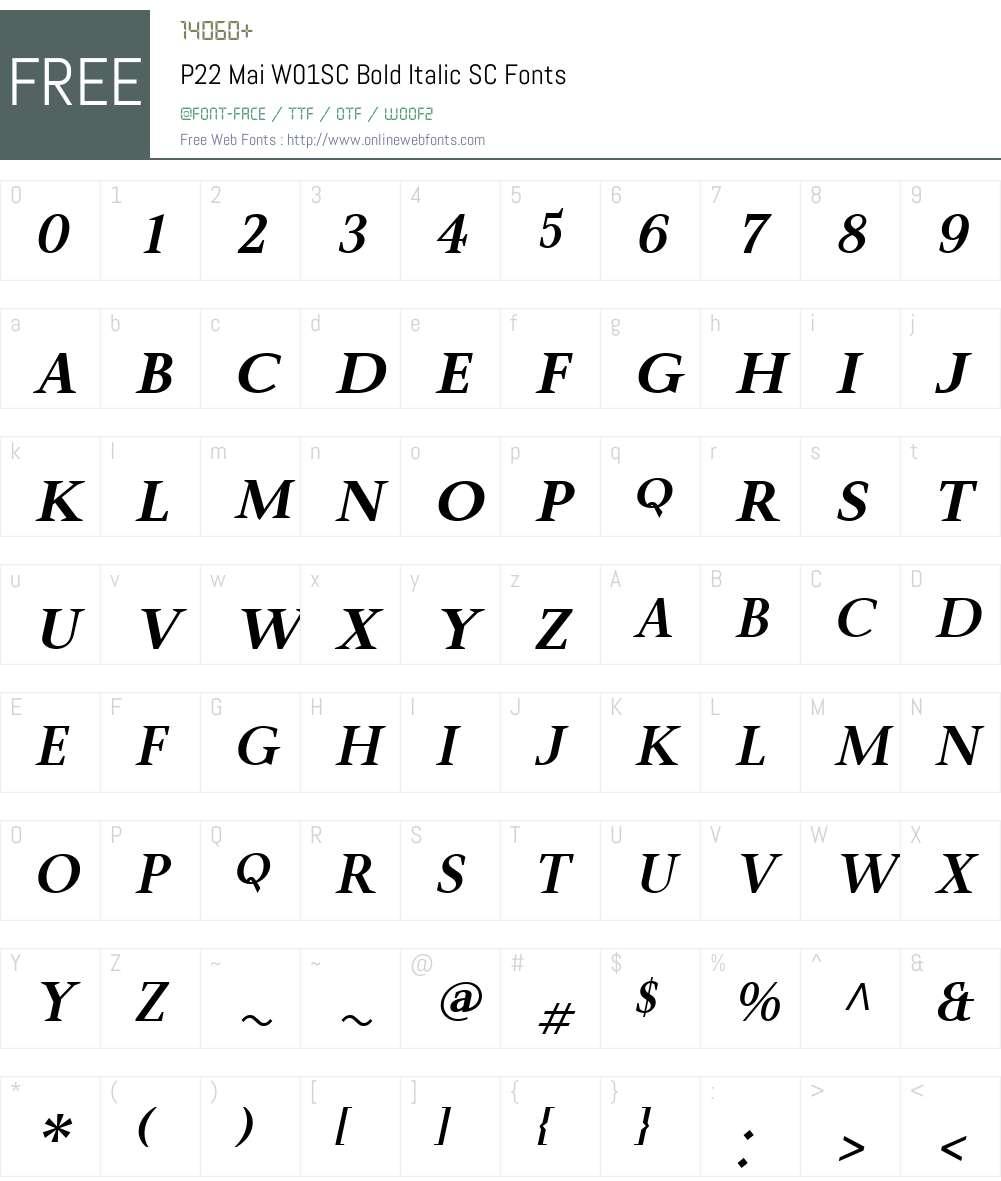 P22MaiW01SC-BoldItalicSC Font Screenshots