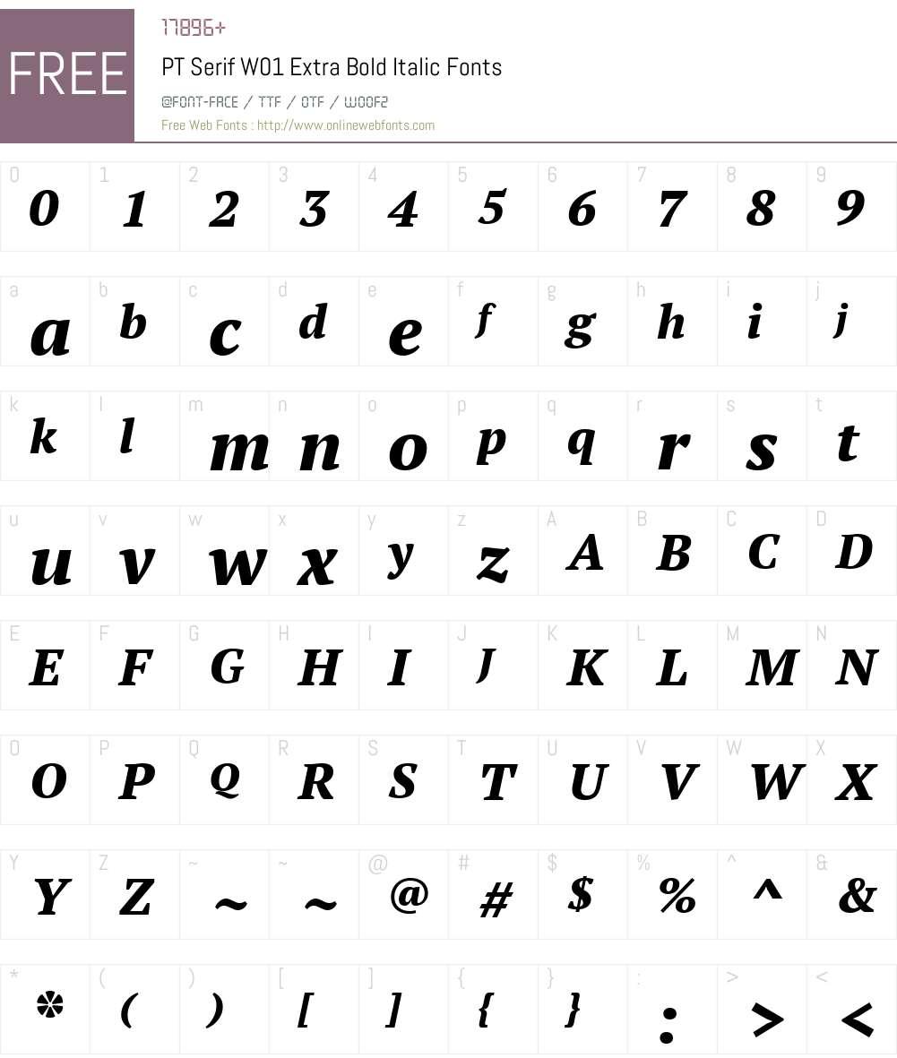 PTSerifW01-ExtraBoldItalic Font Screenshots