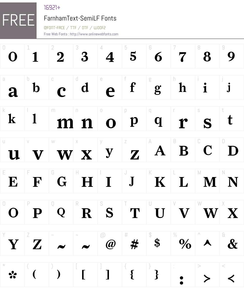 FarnhamText-SemiLF Font Screenshots