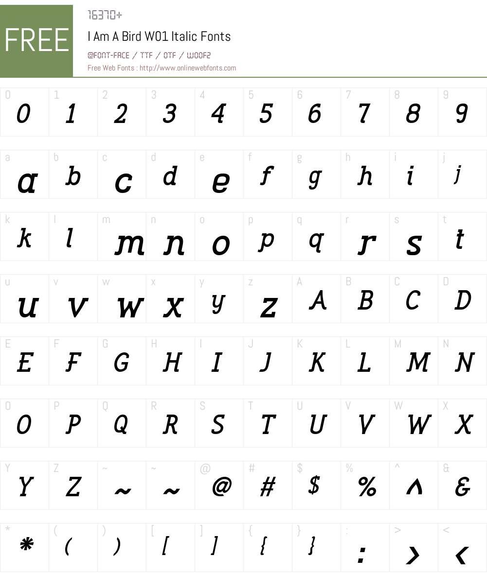 IAmABirdW01-Italic Font Screenshots