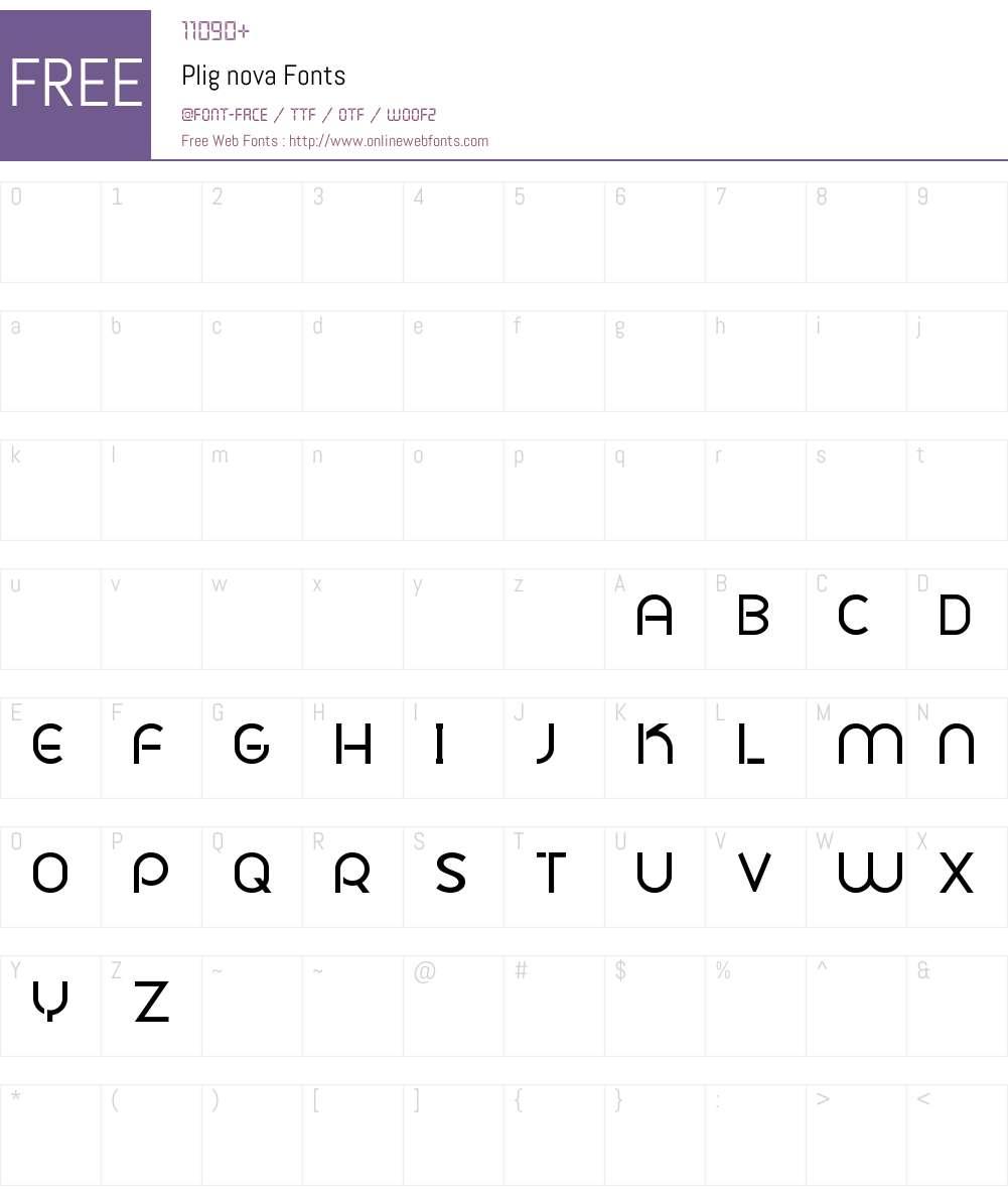 Plig nova Font Screenshots
