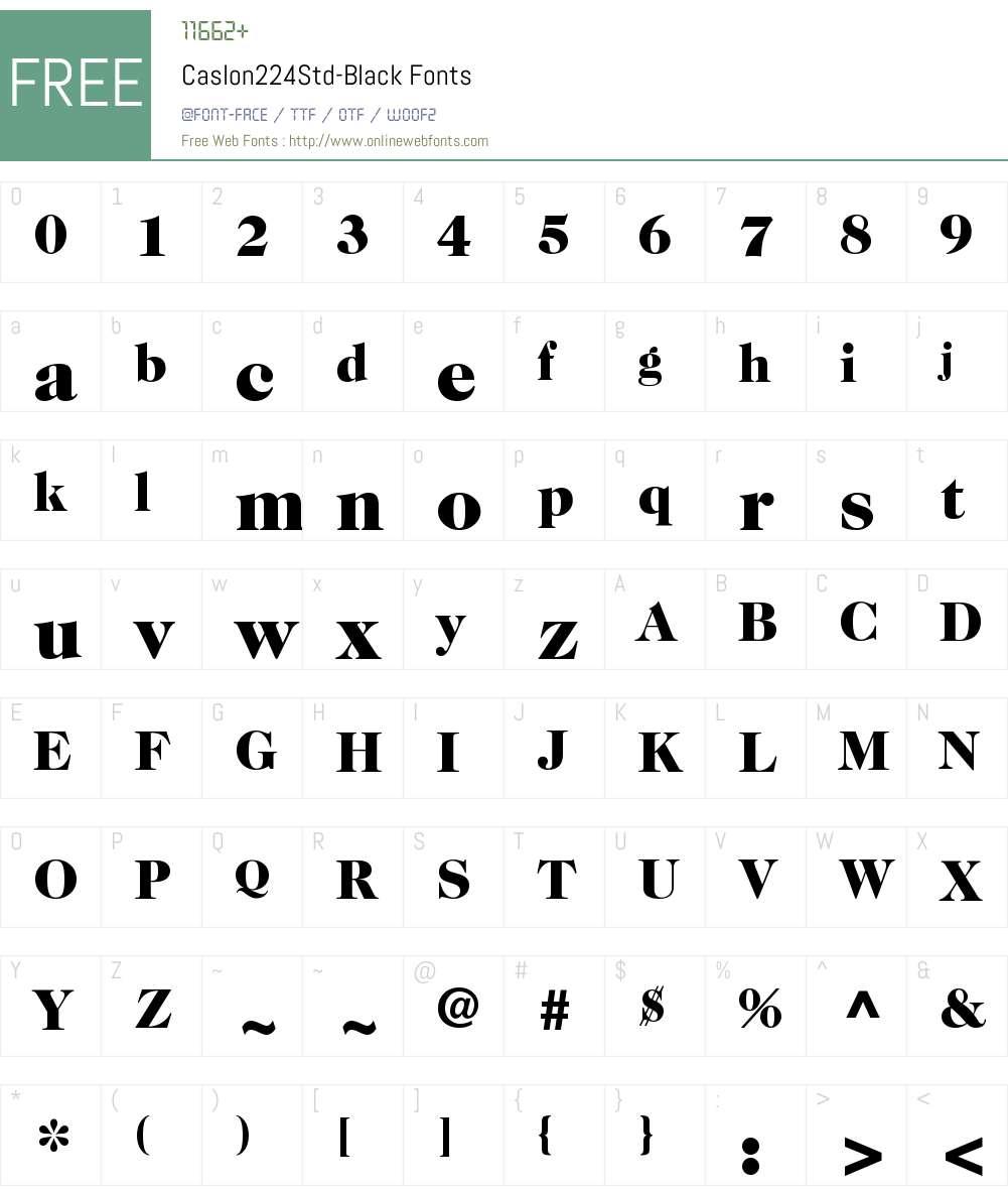 ITC Caslon 224 Std Black Font Screenshots