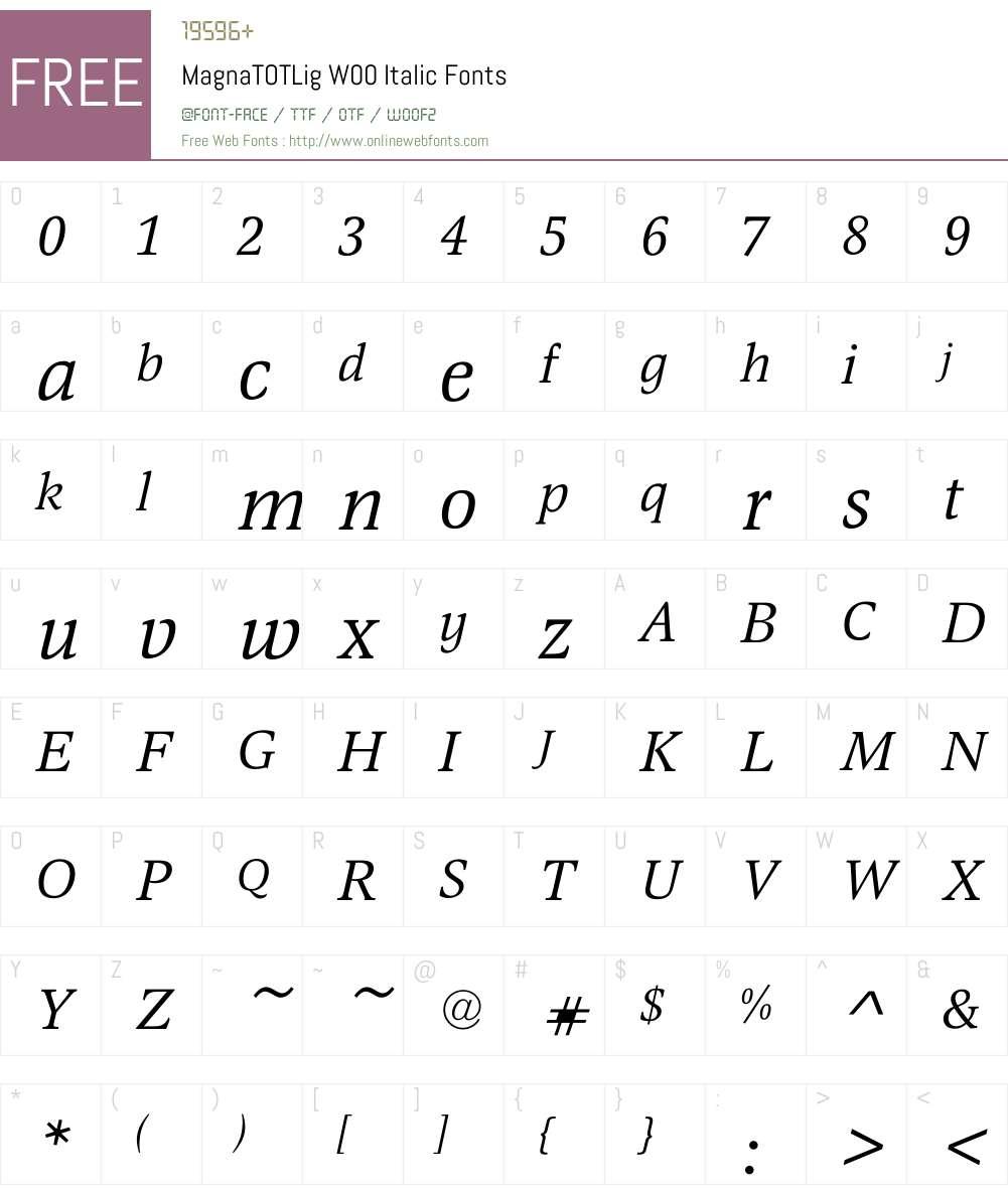 MagnaTOTLigW00-Italic Font Screenshots