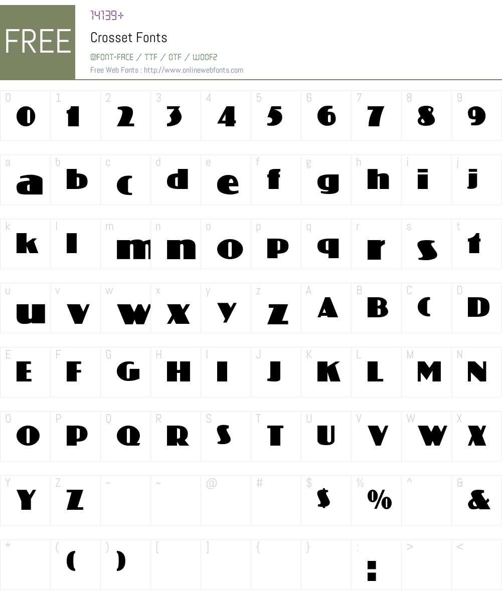Crosset Font Screenshots