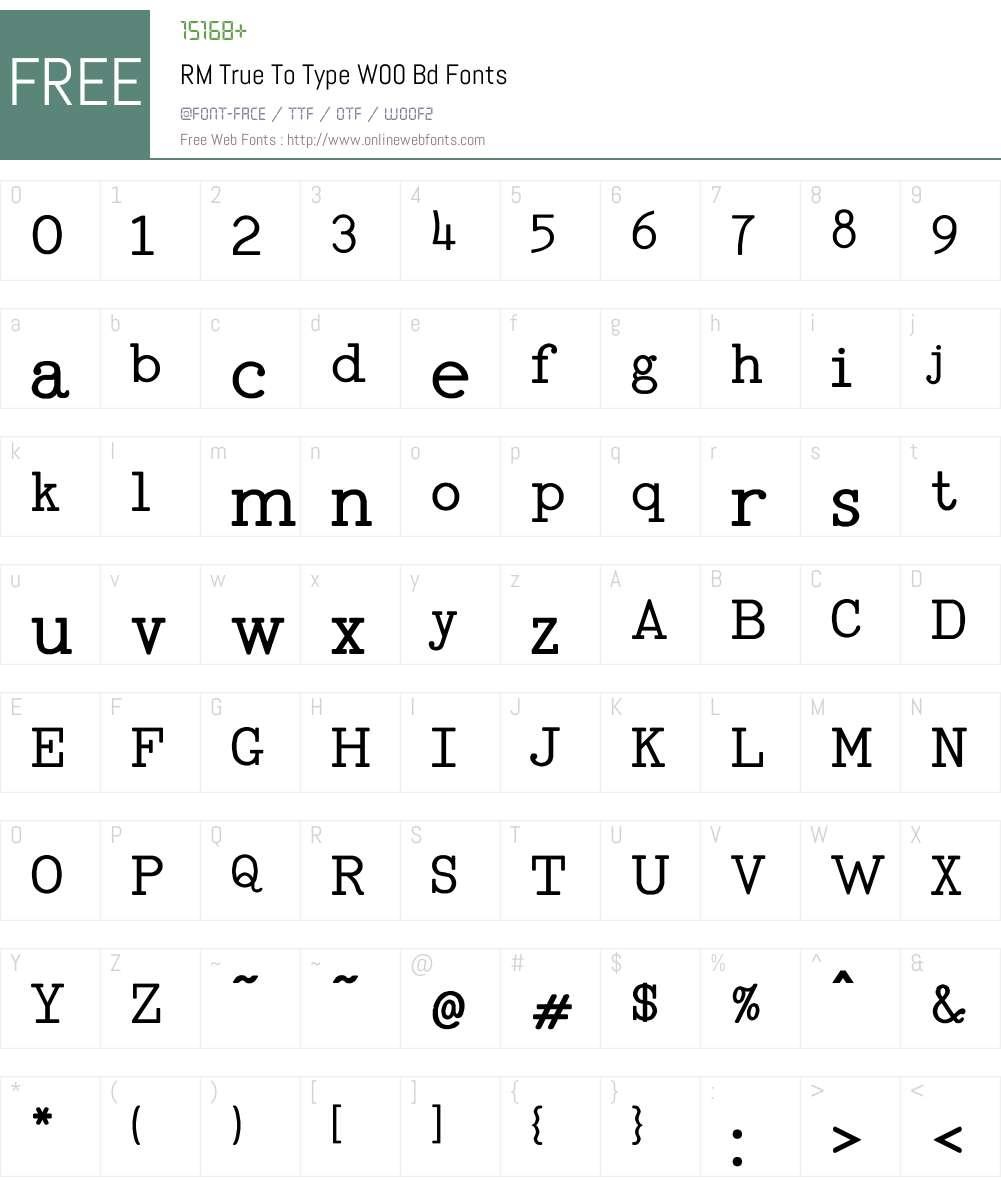 RMTrueToTypeW00-Bd Font Screenshots