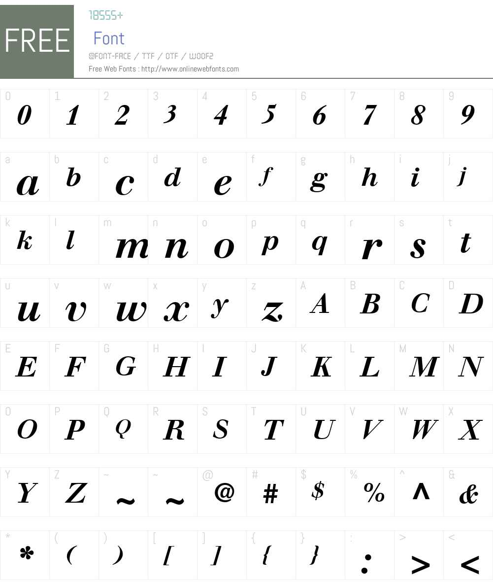 WalbaumW01-BoldItalic Font Screenshots