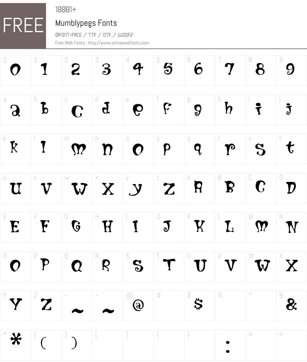 Mumblypegs Font Screenshots