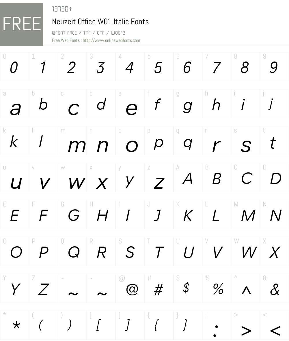 NeuzeitOfficeW01-Italic Font Screenshots