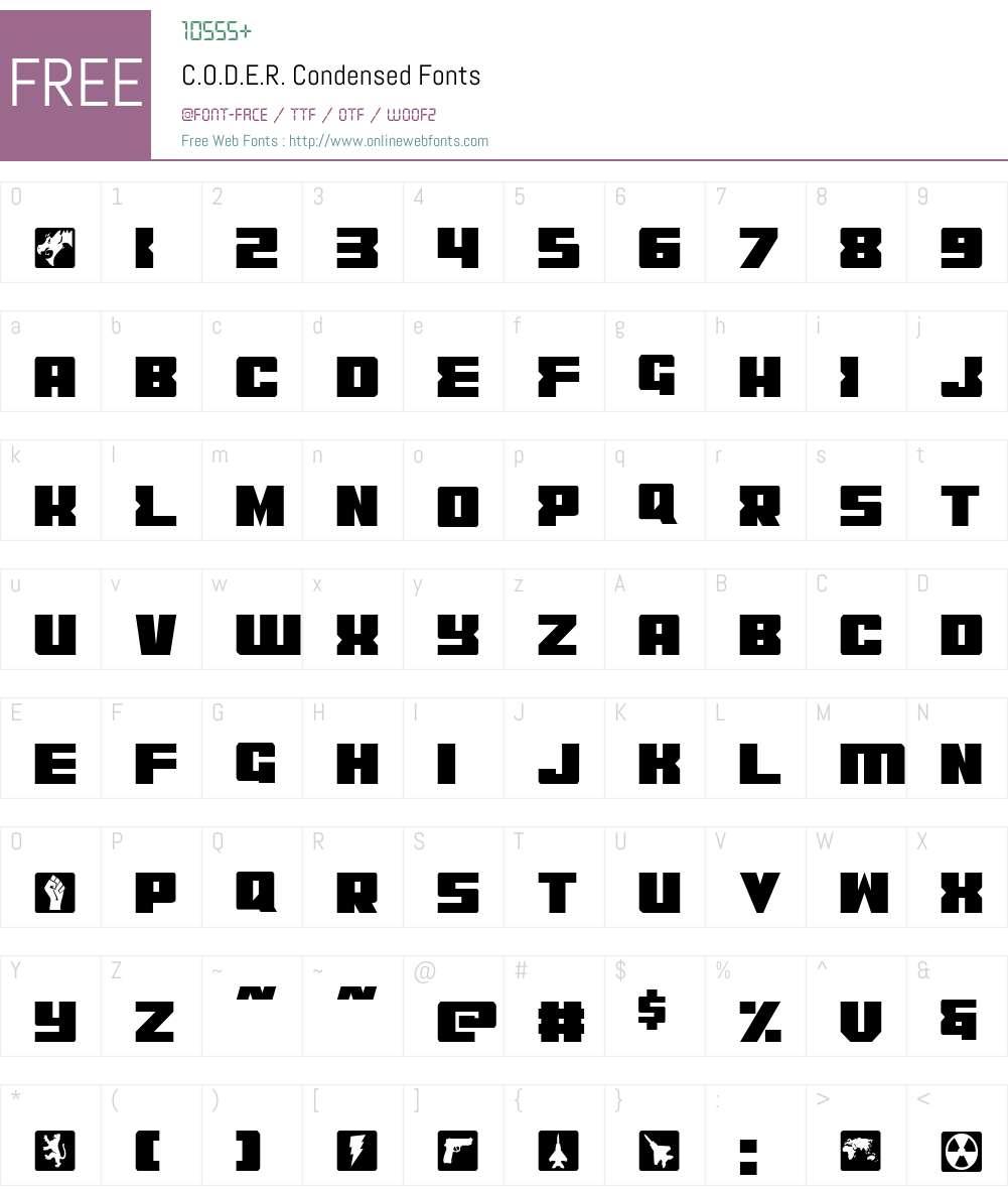 C.O.D.E.R. Condensed Font Screenshots