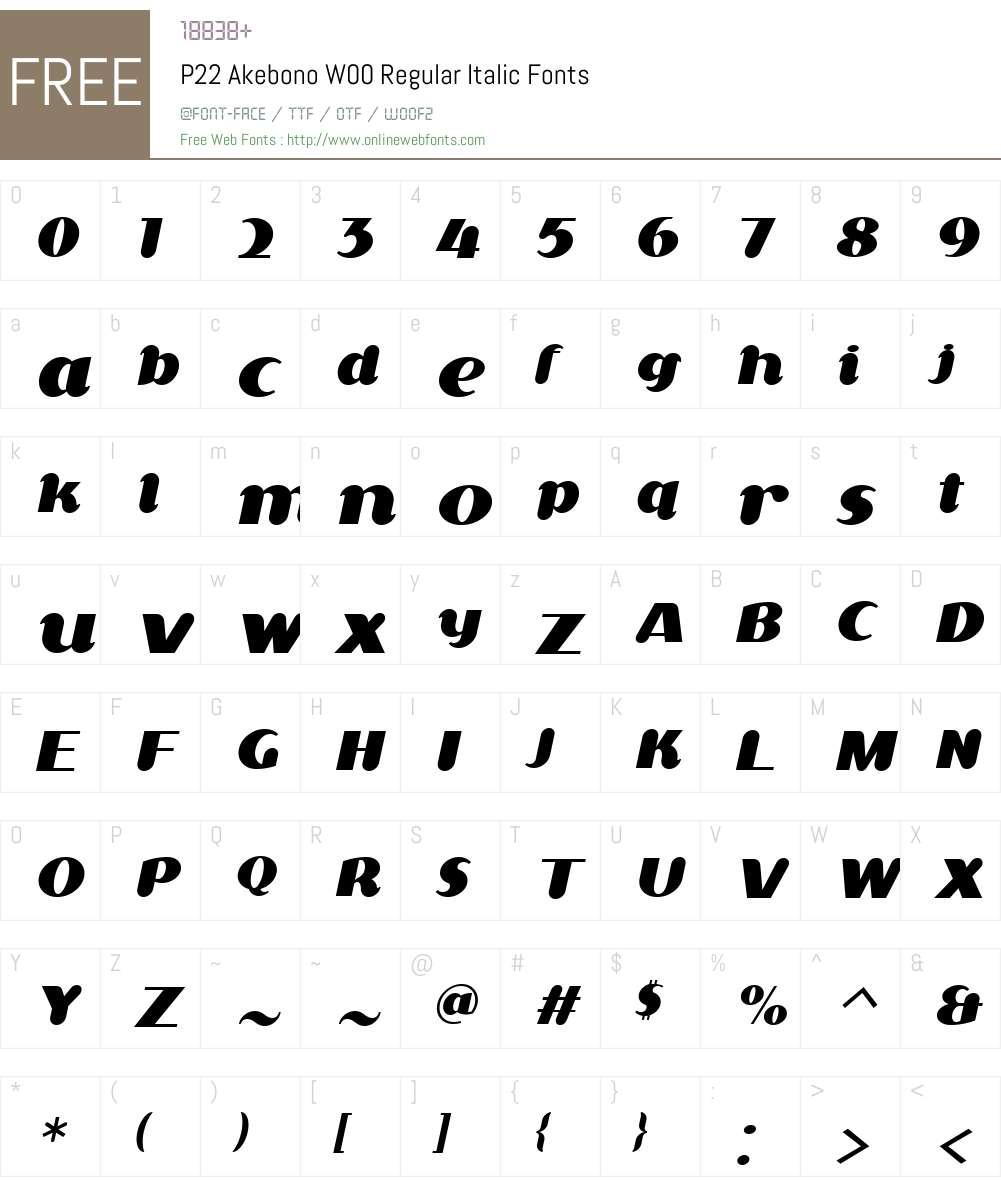 P22AkebonoW00-RegularItalic Font Screenshots