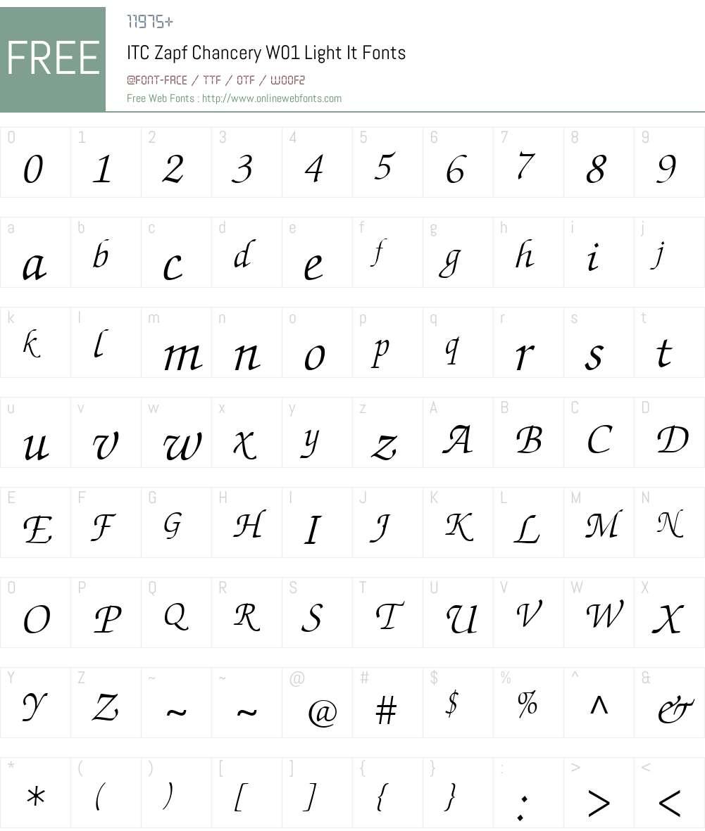 ITCZapfChanceryW01-LightIt Font Screenshots