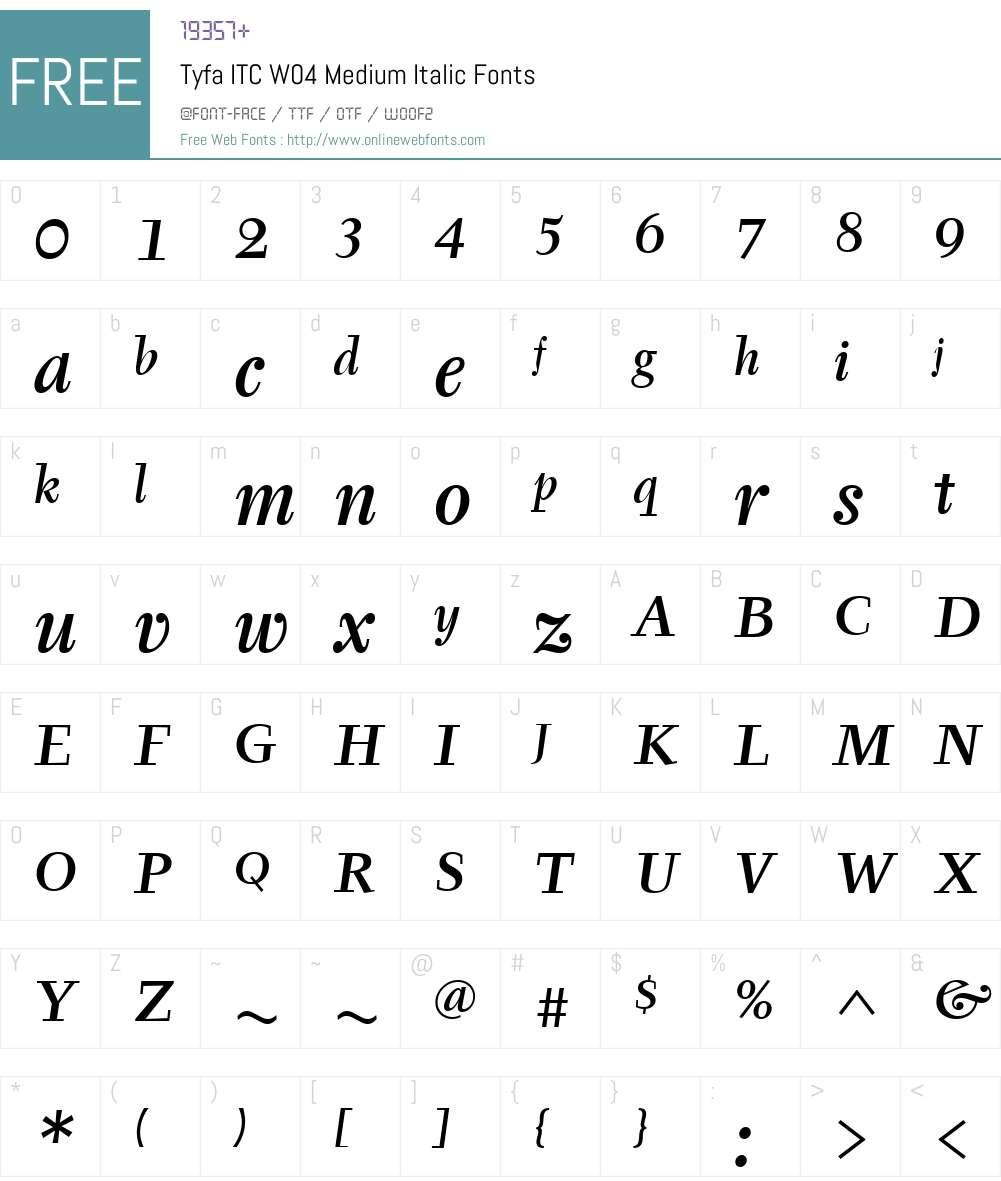 ITC Tyfa Font Screenshots