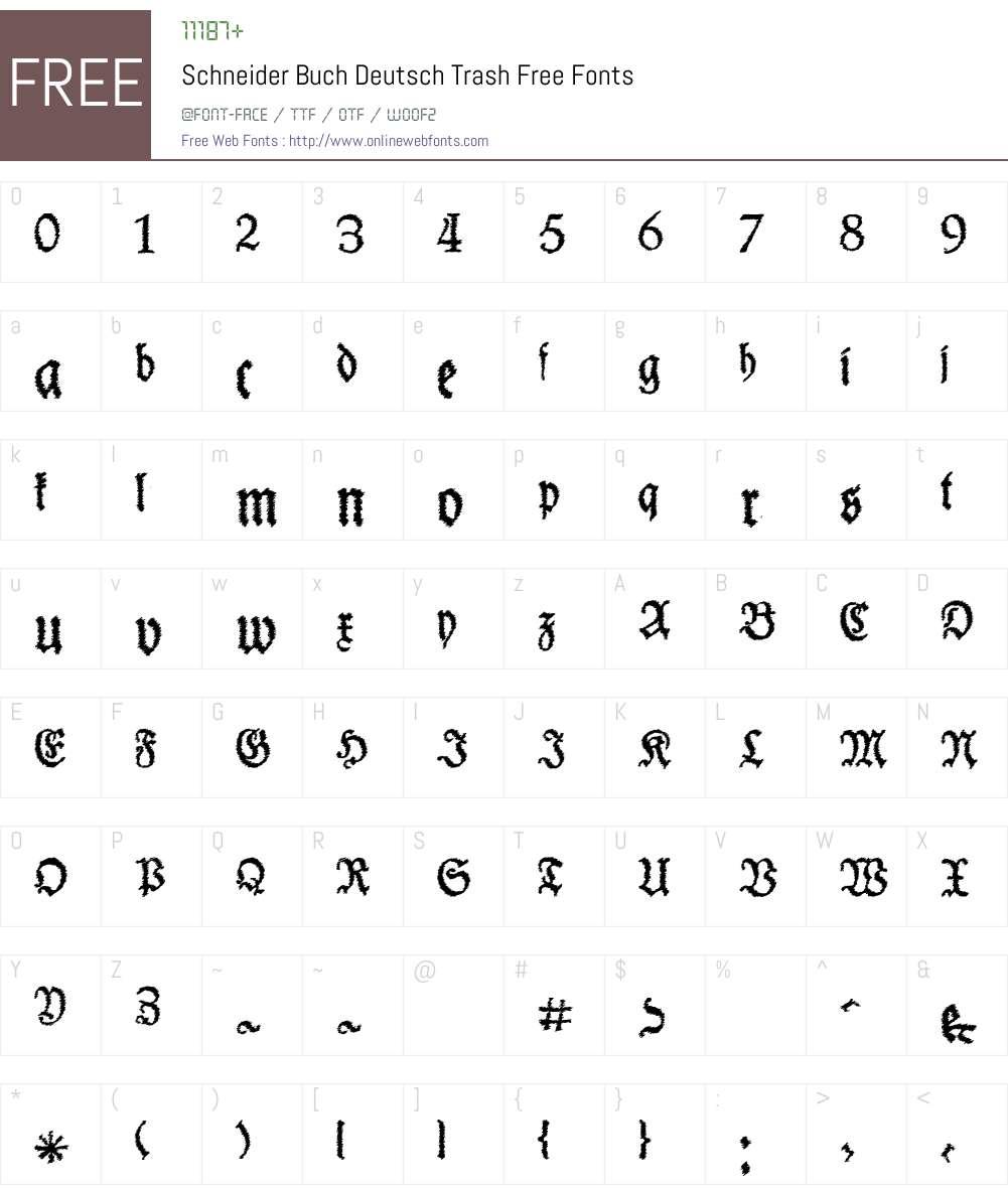 Schneider Buch Deutsch Trash Free Font Screenshots