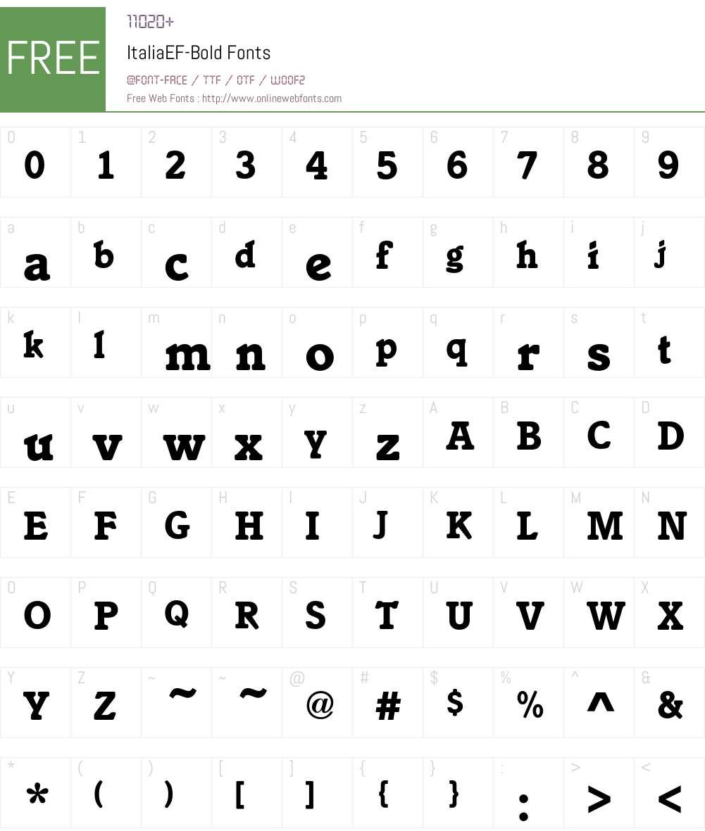 ItaliaEF-Bold Font Screenshots
