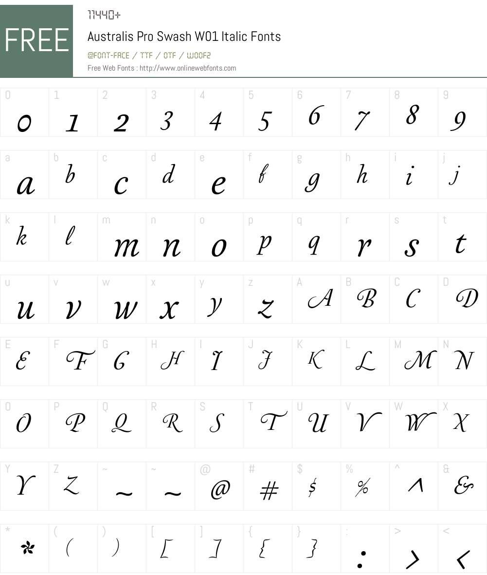AustralisProSwashW01-It Font Screenshots