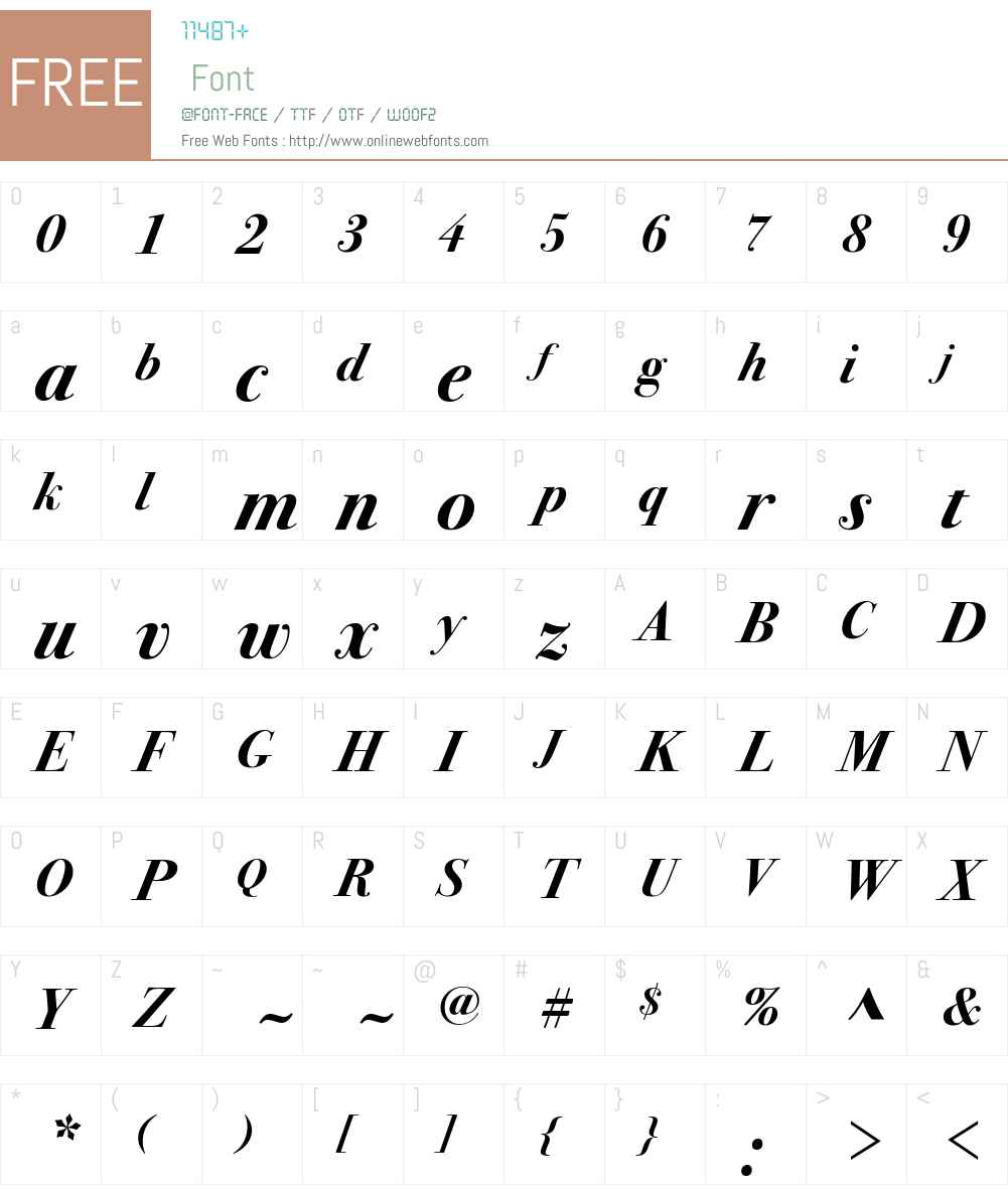 Bodoni Svntytwo ITC Std Book Font Screenshots