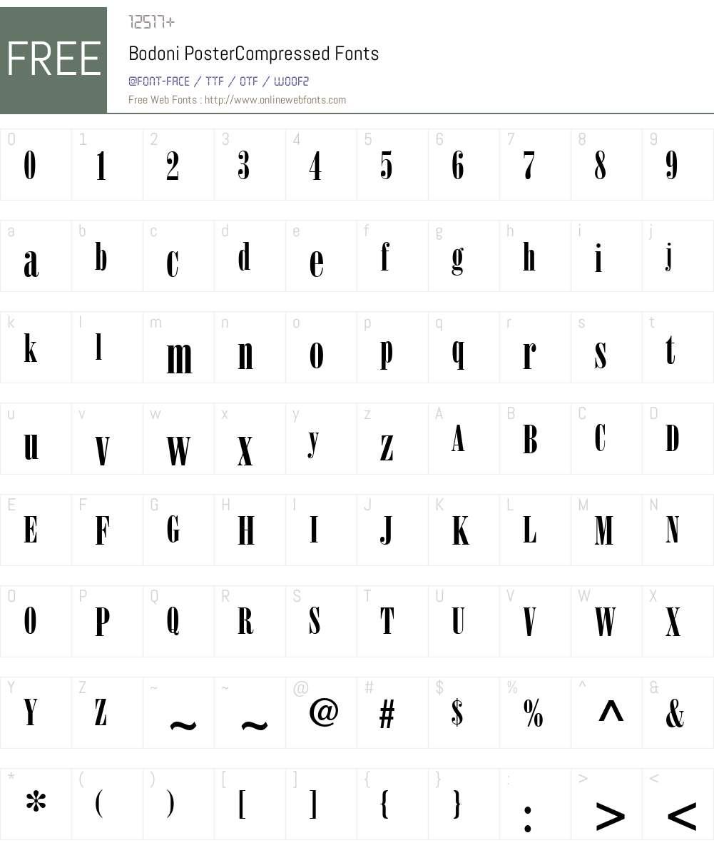Bodoni PosterCompressed Font Screenshots