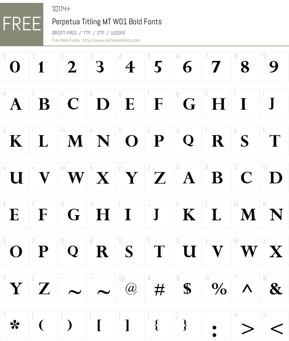 PerpetuaTitlingMTW01-Bold Font Screenshots