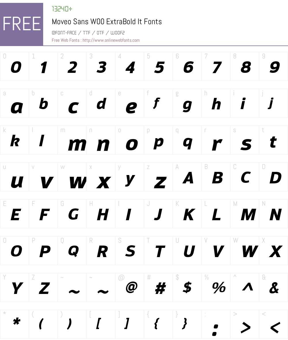 MoveoSansW00-ExtraBoldIt Font Screenshots