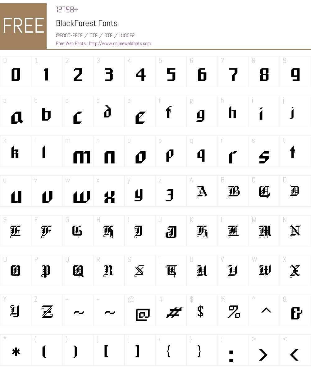 BlackForest Font Screenshots