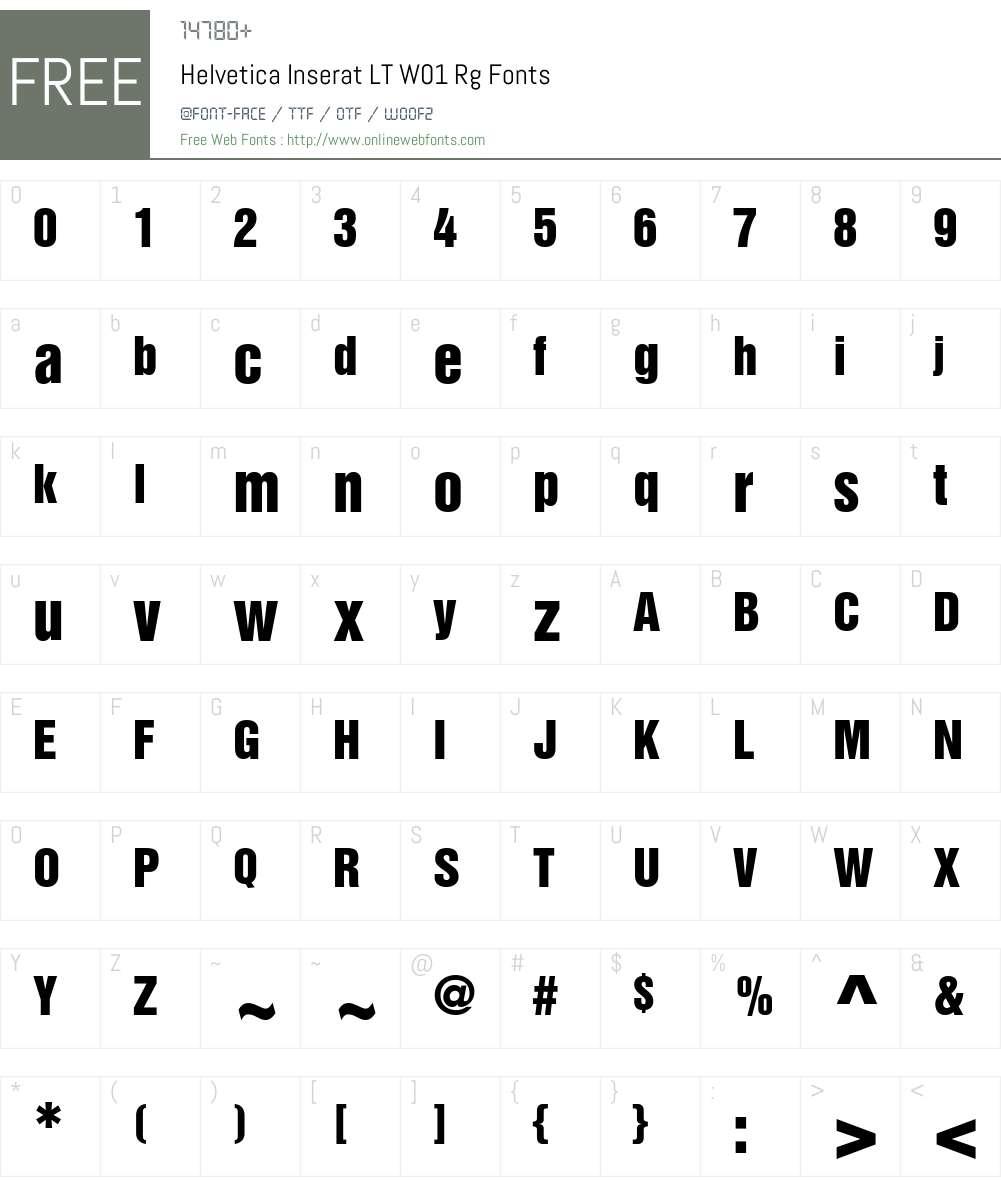 HelveticaInseratLTW01-Rg Font Screenshots