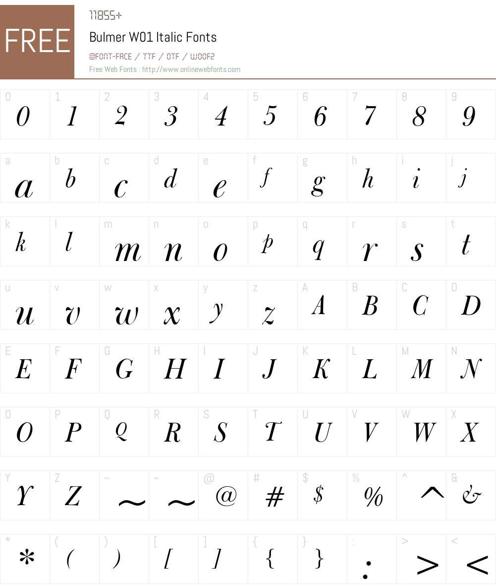 BulmerW01-Italic Font Screenshots