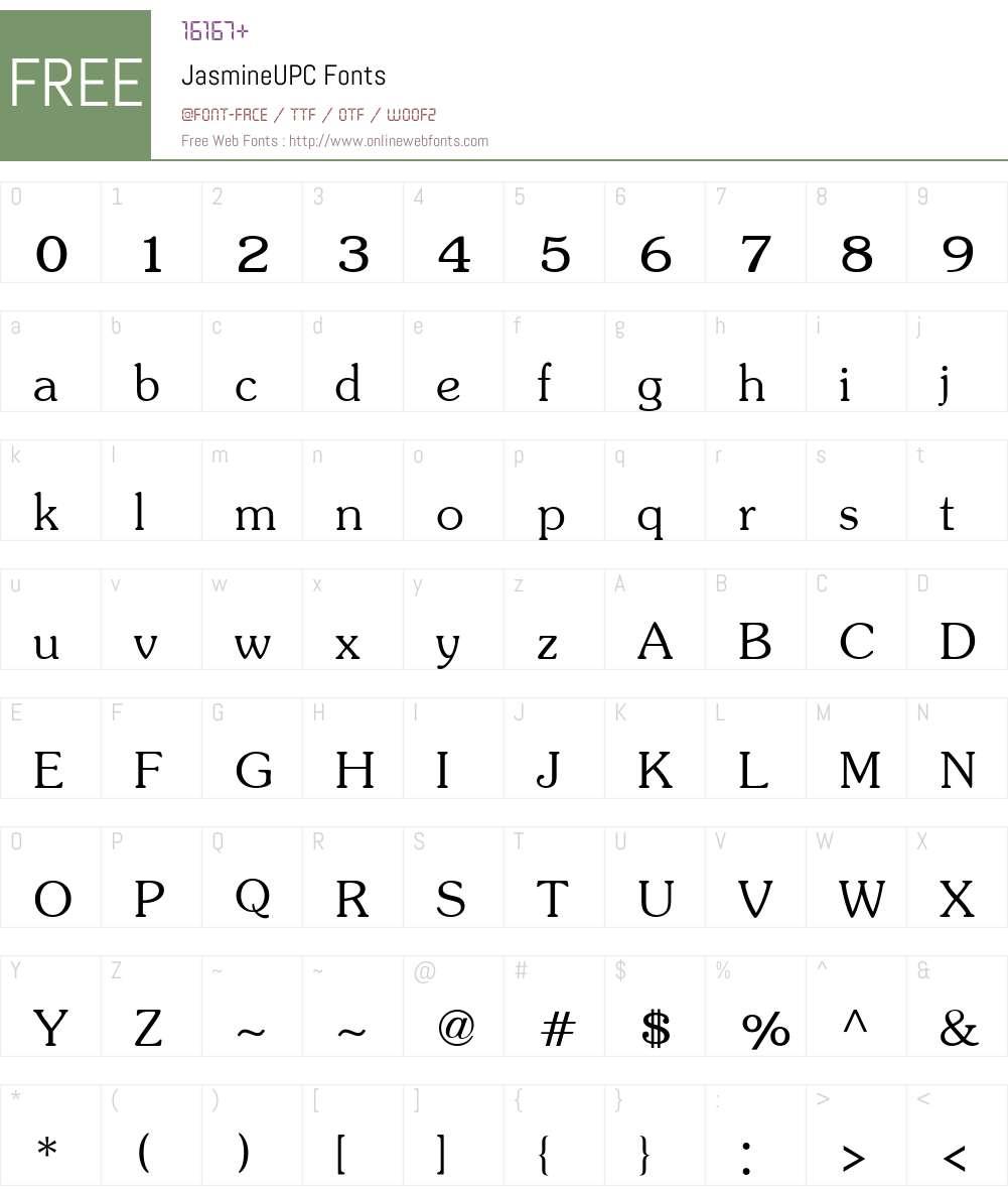 JasmineUPC Font Screenshots