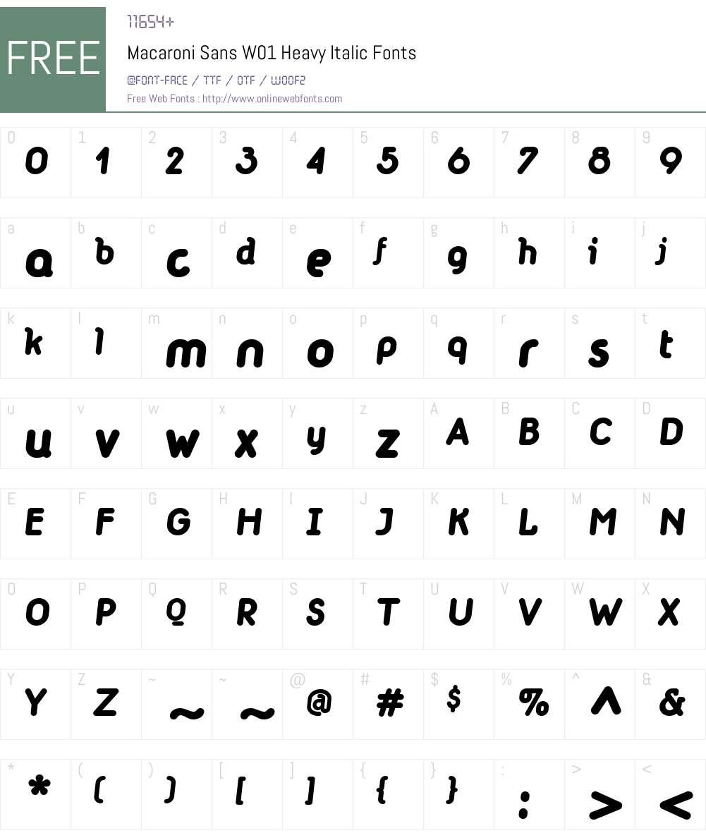 MacaroniSansW01-HeavyItalic Font Screenshots