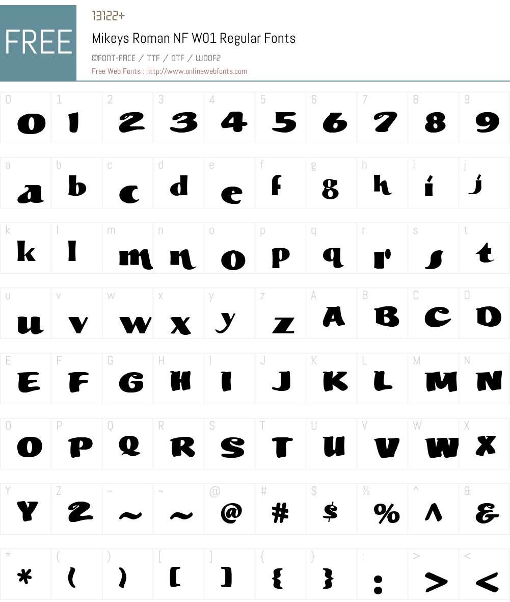 MikeysRomanNFW01-Regular Font Screenshots