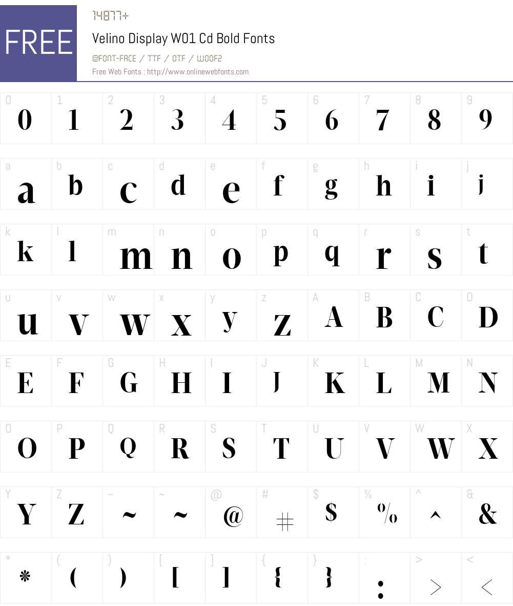 VelinoDisplayW01-CdBold Font Screenshots