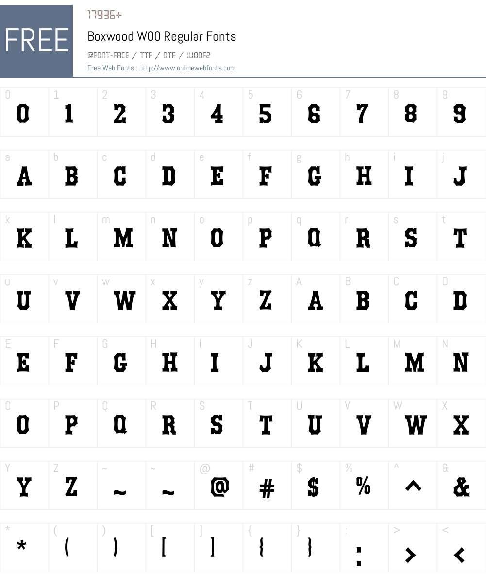 BoxwoodW00-Regular Font Screenshots
