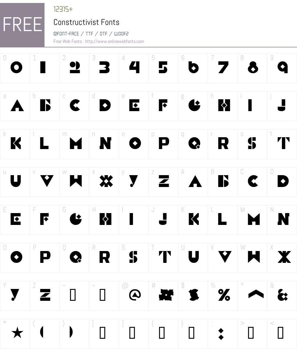 Constructivist Font Screenshots